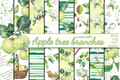 Watercolor Apple tree branches seamless patterns