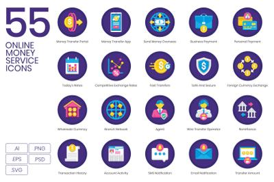 55 Online Money Service Icons