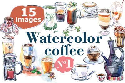Watercolor coffee vector set