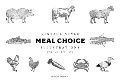 Vintage Meal Choice Illustrations