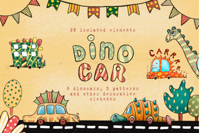 Dino Car - Clip Art Set