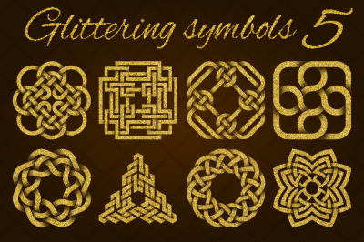 Golden glittering symbols pack 5