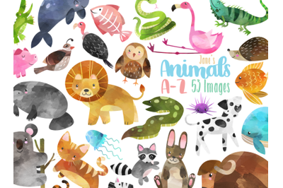 Watercolor Alphabet Animals Clipart