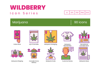 90 Marijuana Icons