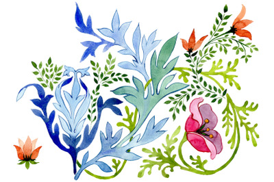 Ukrainian floral ornament watercolor png