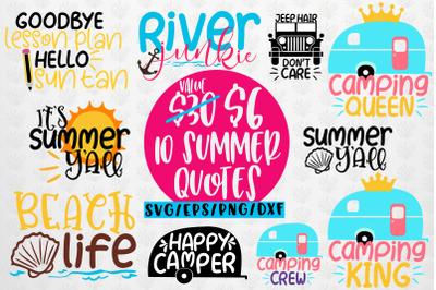 Summer & Camping Svg Bundles - 10 Svg EPS DXF PNG Cut File