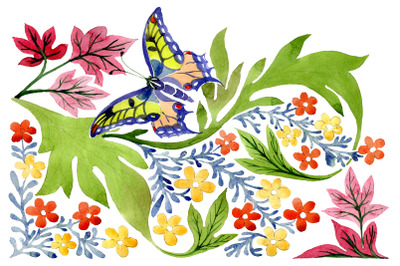 European floral ornament watercolor png