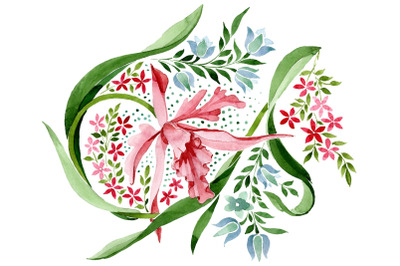 Pink floral ornament watercolor png