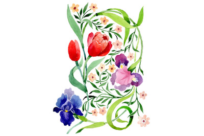 Ornament with irises and tulips watercolor png