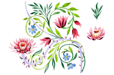 Ornament with lotus Watercolor png