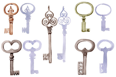 Old Golden Key Watercolor png
