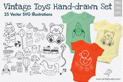 Vintage Toys 25 SVG Hand-drawn Illustrations.