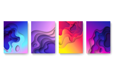 Abstract paper cut background. Cutout fluid shapes&2C; color gradient lay