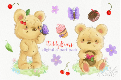 Cute digital watercolor bear clipart Summer clipart Cherry Cake Flower