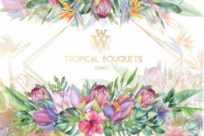 Watercolor tropical clip art, floral border clipart, summer wedding