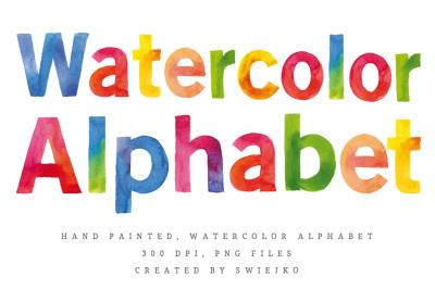 Watercolor Alphabet clipart set