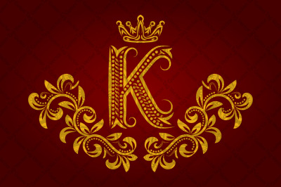 Patterned golden letter K monogram