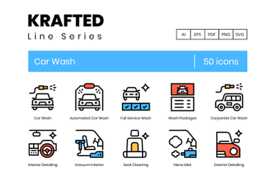 50 Car Wash Icons
