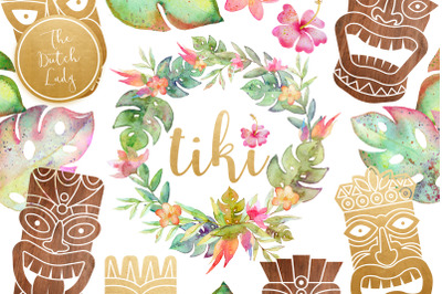 Hawaiian Tiki Mask Clipart Set