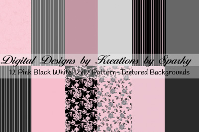 Pink Black Gray Background Papers 12x12