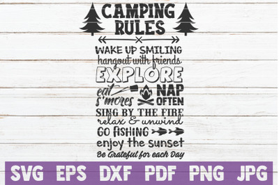 Camping Rules SVG Cut File