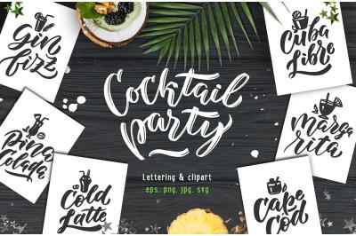 Cocktails bar, lettering & clipart