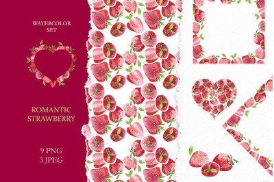 "Watercolor set ""Romantic Strawberry"""