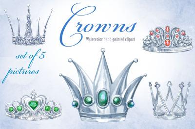 Watercolor silver crowns