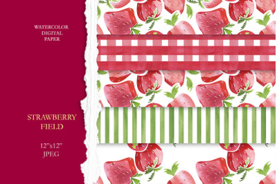 "Watercolor digital Paper ""Strawberry Field"""