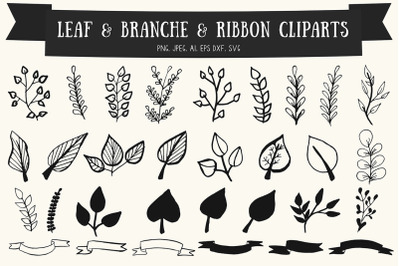 30+ Premium Handmade Leaf, Branches & Ribbon Cliparts