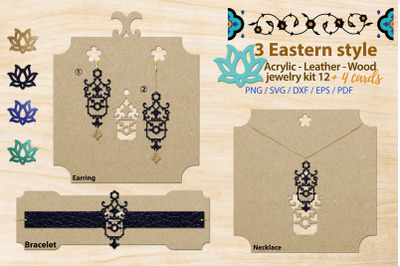Eastern style acrylic leather wood jewelry kit 12 svg ai eps dxf png p