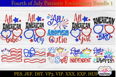Fourth of July Patriotic Applique Embroidery Bundle 1 dst, exp, hus, j