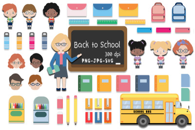Back-To-School Students, Teachers and Classroom Supplies Collection