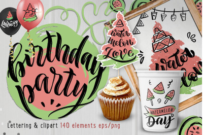 Watermelon Party! Hand drawn set