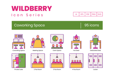 95 Coworking Space Icons