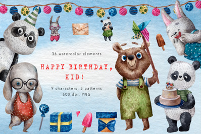 Happy Birthday, Kid! - Watercolor Clip Art Set