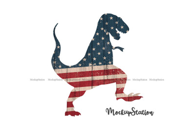 Dinosaur Stars Stripes Sublimation PNG, Patriotic USA Dino