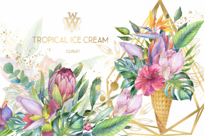Watercolor summer tropical flower clipart