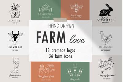 Farm love - premade logos set