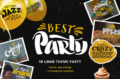 "10 vector logo ""Best party"""