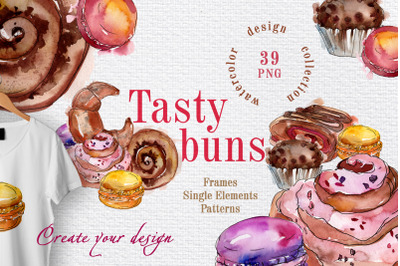 Tasty buns Watercolor png