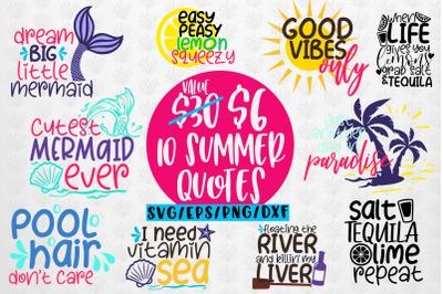 Summer And Mermaid Svg Bundles - 10 Svg EPS DXF PNG Cut File