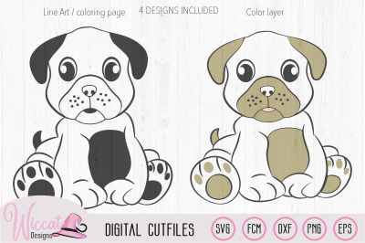 Girl dog Pug svg, Boy dog pug