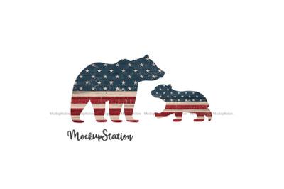 Mama Bear Stars Stripes Sublimation PNG, Patriotic USA Flag
