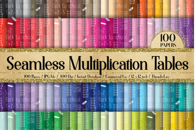 100 Seamless Math Kids Multiplication Table Digital Papers