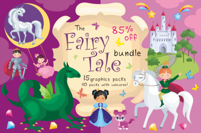 The FairyTale Bundle. Cliparts and seamless patterns