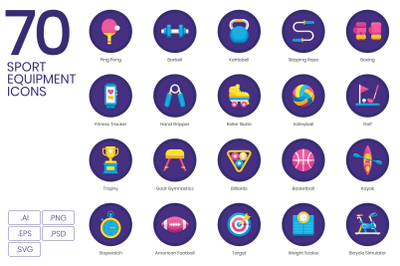 70 Sport Equipment Icons
