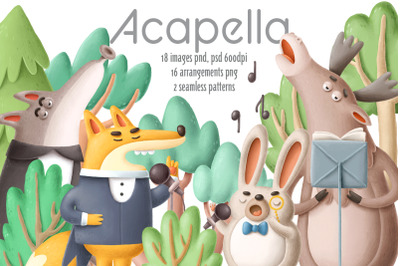 Collection of singing forest animals