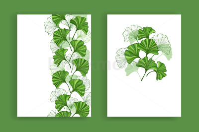 Design with Green Leaves of Ginko Biloba
