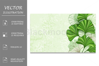 Green Background with Leaves of Ginkgo Biloba